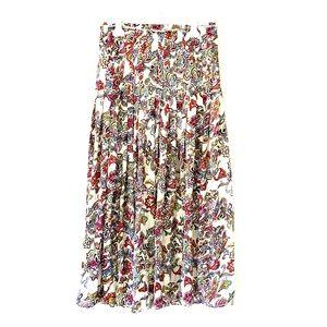 Drop-waist, pleated maxi skirt.